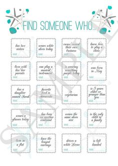 game ''find someone who.'', wedding icebreaker for guests, reception game, reception game for beach wedding, printable bingo Wedding game ''find someone who.'' wedding von ElinaWeddingWedding game ''find someone who. Wedding Games For Guests, Wedding Reception Games, Reception Design, Wedding Bingo, Wedding Receptions, Guestbook Wedding, Wedding Invitations, Ice Breakers, Wedding Entertainment