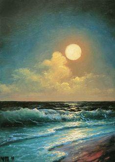 46 nuit magnifique 5 x 7 original toile par vladimirmesheryakov