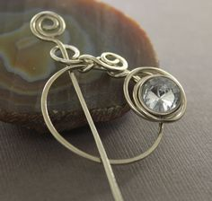 Penannular German silver shawl pin or scarf pin with by IngoDesign, $28.00
