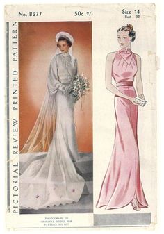 Pictorial Review 8277, ca. 1936. Misses' Inset Bodice  evening dress or wedding gown. Featured in the Pictorial Review Fashion Book for Summer 1936.