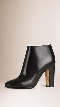 Black Check Detail Leather Ankle Boots - Image 1
