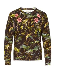 Click here to buy Gucci Tropical-print floral-appliqué cotton sweatshirt at MATCHESFASHION.COM