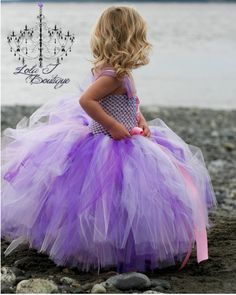 DIY Tulle Flower Girl Purple