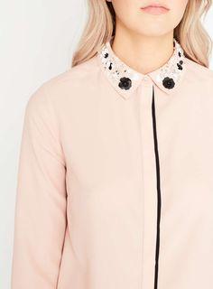 Embellished Collar Shirt - Miss Selfridge