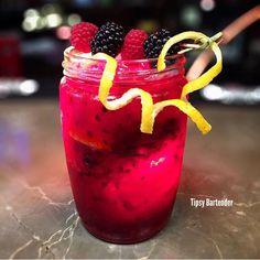 WILD SUMMER 1 1/2 oz. (45ml) Vodka 1/2 oz. (15ml) Triple Sec 1/2 oz. (15ml)Lemonade Juice Fresh Wild Berry Juice