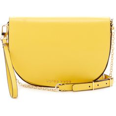 Trina Turk Park Ave Crossbody Saddle Bag (389753801) ($228) ❤ liked on Polyvore featuring bags, handbags, shoulder bags, yellow, yellow leather purse, crossbody purse, leather wristlet, leather handbags and saddle bags
