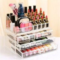 Wish | 1pc Acrylic 3 Layer 4 Drawer Makeup Organizer Storage Box For Cosmetic Jewelry Display Rangement Maquill Color Clear