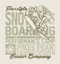 Snowboard camp vector artwork for kids wear in custom colors grunge effect in separate layer  Stock Vector