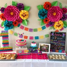Fiesta Party Decorations - Paper Flowers - First Birthday I just wanted to share a few decor photos from Amerie's First Fiesta. It was sooo much fun (and a tremendous effort) putting this together. Mexican Birthday Parties, Mexican Fiesta Party, Fiesta Theme Party, Taco Party, Fiesta Party Centerpieces, Mexican Menu, Colorful Birthday Party, Party Banner, Pinata Party
