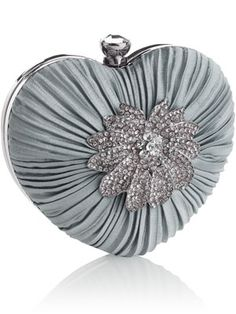 ~ Rounded Hard Case Heart Clutch Bag ~ Can see this with a Cream or Dusty Rose Linen Pant Suit....