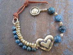 Bohemian three strands bracelet, Semi precious blue gems, Heart link, Wrap bracelet with genuine bronze accents, Lovely Valentine's gift. Bohemian Bracelets, Handmade Bracelets, Fashion Bracelets, Earrings Handmade, Jewelry Bracelets, Handmade Jewelry, Leather Bracelets, Leather Jewelry, Trendy Jewelry