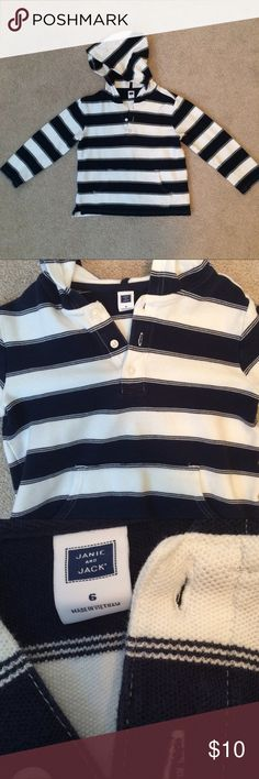 Janie and Jack Striped Pullover Janie and Jack navy blue and white striped pullover.  Has kangaroo pocket in front, with three bottom closure on top.  In good condition.  Only wore a handful of times.  No stains or holes. Janie and Jack Shirts & Tops Sweatshirts & Hoodies