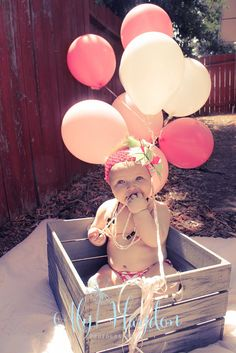 one year photography portraits baby girl first birthday bday balloons pink pearls photoshoot
