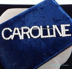 "Vintage Dorothy Bauer Clear Rhinestone Name ""CAROLINE"" Silver Pin RARE"