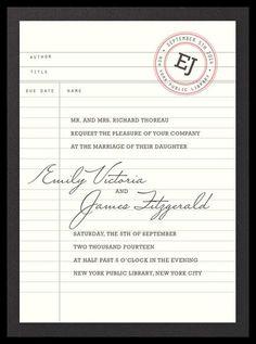 Library wedding invitation