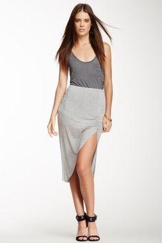 Ruched Slit Skirt