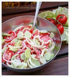 2 pomidory  4 ogórki gruntowe  1 mała cebula  150 g śmietany 18%  sól i pieprz                     Dzisiaj bardzo prosta i zapewne zna...
