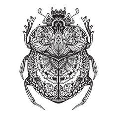 escarabajo estilizado blanco y negro. Garabatos error modelada étnica. África, totem egipcio. Boceto para el tatuaje de impresión de carteles o una camiseta. Foto de archivo - 50473713