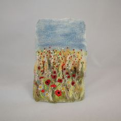 Embroidered and Felted Hanging - Poppy Fields £30.00