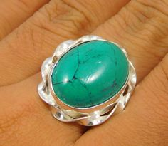 Turquoise .925 Silver Handmade Oxidised  Ring Size 7  Jewelry JT465 #Handmade