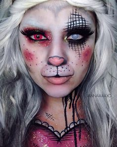 inspired by @callowlilyart bunny love piece . Products : @mehronmakeup aq paradise paints in black , white , pink @lunatick_cosmetic_labs contour palette & finishing powder @starcrushedminerals eyeshadow in Jewlee & glitter in Nefergreedi @jeffreestarcosmetics Posh Spice liquid lipstick @nyxcosmetics lipstick in nude , liquid eyeliner @meltcosmetics dark matter eyeshadow @sigmabeauty brushes @hallowojos pink contact @camoeyes.com_ white contact ( code VANNAX for $$ off purchase )