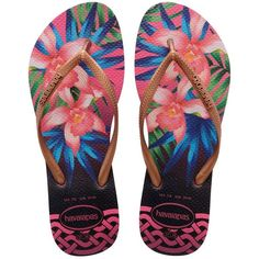 aa1433a5e83b Havaianas Women Slim Tropical Rubber Flip Flops ( 39) ❤ liked on Polyvore  featuring shoes