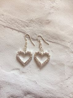 Rhinestone Heart Earrings Silver Earrings Sparkly by peppiandboo
