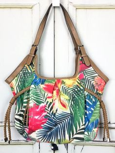 8af208588af Croft Barrow Tropical Floral Canvas Purse Shoulder Bag Adjustable Straps  Multi Color Canvas Purse, Purses