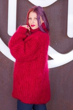 Tiffy Mohair Hand Knitted T neck Sweater