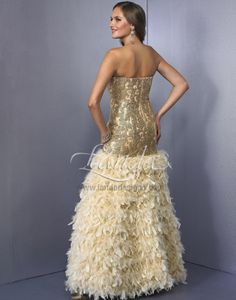 0f0c099443a Landa Designs 2013 Gold Strapless Sweetheart Drop Waist Mermaid Embriodered  Feather Prom Dress 114