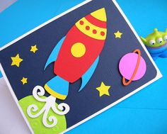 Rocket Ship Space Theme Birthday Invitation set of 8 Space Party, Space Theme, Invitation Set, Birthday Invitations, Folder Decorado, Rocket Birthday Parties, Astronaut Party, Activities For Kids, Crafts For Kids