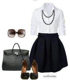 white shirt, little black skirt and black sandles