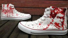Dare You To wear Them! #Dexter Shoes Dexter Morgan Hand Painted S,High-top Painted Canvas Shoes