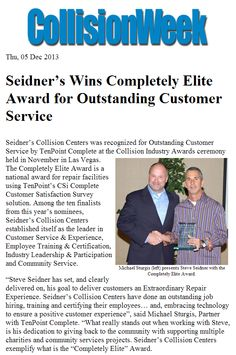 """We are honored and proud to accept this year's Completely Elite Award for Outstanding Customer Service. More proof our employees truly provide an """"Extraordinary Repair Experience""""."""