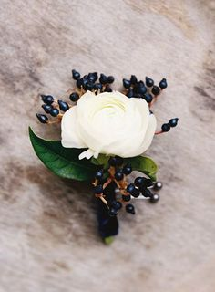 Winter Wedding Boutonniere Ideas: Ranunculus Blooms : Brides