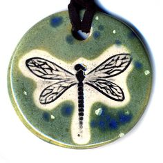 Dragonfly Ceramic Necklace In Spotted Green by surly on Etsy, $18.00