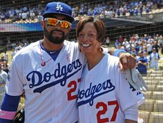 Matt Kemp with his mom on Mother's Day at the Dodger game