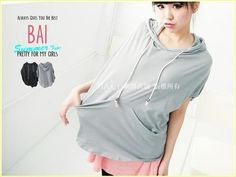 YESSTYLE: BAIMM- Loose-Fit Hooded Top (Light Gray - One Size) - Free International Shipping on orders over $150 - StyleSays