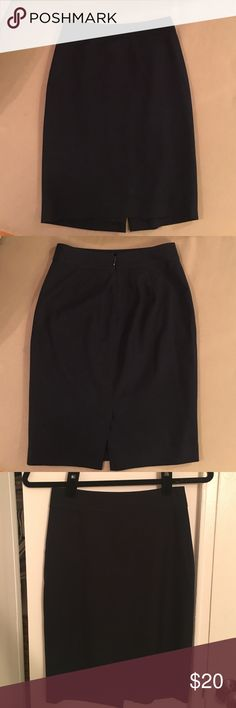 Ann Taylor Navy Pencil Skirt Size 00P Ann Taylor Pencil Skirt in Navy. Form fitting with a slit in the back. Great condition always only dry cleaned. Sadly selling because it Doesn't fit anymore. Ann Taylor Skirts Pencil