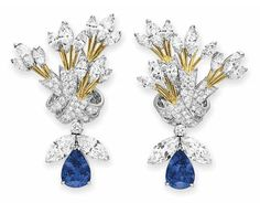 """A PAIR OF DIAMOND AND SAPPHIRE """"RIBBON"""" EAR PENDANTS, BY JEAN SCHLUMBERGER, TIFFANY & CO., signed Schlumberger Studios for Jean Schlumberger, Tiffany & Co.; """"Bee"""" ear pendants signed Tiffany & Co. Has interchangeable yellow sapphire bee pendants as well."""
