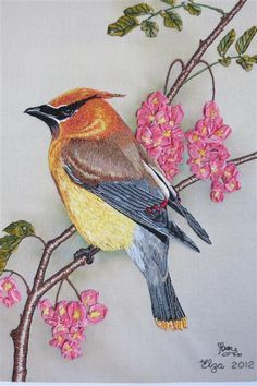 embroidery by elza dejager - My latest embroidery piece, Waxie, a Ceder Waxwing in long and short stitch and silk ribbon embroidery. The original painting was done by Roby Baer and the image printed by Di van Niekerk ( www.dicraft.co.za )