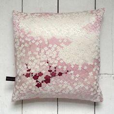 Pink Vintage Kimono Fabric Cushion 'Spring Cherry Blossom' by LynnWatt, $38.99