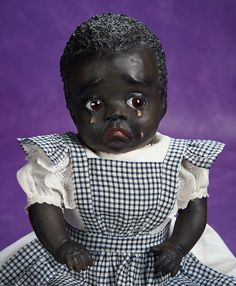 """Very Rare American Paper Mache Black Character Doll """"Cleota"""" Attributed to Leo Moss 16"""" (41 cm.)"""