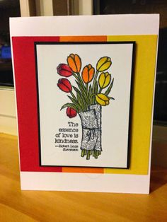 Needs A Ribbon: Diva Blog Hop January - The All NEW Review Bright spring tulips colored with Blendabilities from Stampin' Up! Love Is Kindness stamp Set.