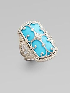 Turquoise, Diamond and Sterling Silver Ring