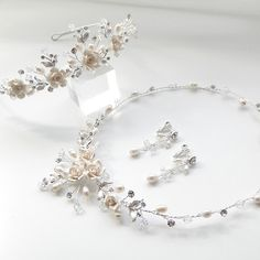 bridal jewelry for the radiant bride Flower Headpiece Wedding, Hair Comb Wedding, Wedding Hair Pieces, Bridal Comb, Bridal Tiara, Handmade Bridal Jewellery, Wedding Jewelry, Wedding Tiaras, Ivory Wedding