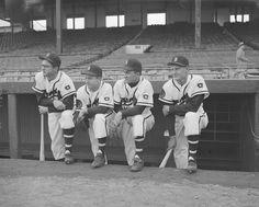 Braves infield, late 1951: from left, Earl Torgeson (1B) / Roy Hartsfield (2B) / Johnny Logan (SS) / Bob Elliot (3B)
