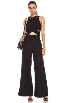 Zimmermann|Silk Cotton Wrap Jumpsuit in Black [1]