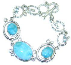 $189.95 Genuine+Blue+Larimar++&+Swiss+Blue+Topaz++Sterling+Silver+handmade+Bracelet at www.SilverRushStyle.com #bracelet #handmade #jewelry #silver #larimar