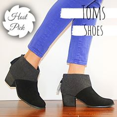 """✨HP✨TOMS Boots t o m s   s h o e s            s i z e :  7 . 5 c o l o r :  b l a c k   a n d   g r a y  h e e l   h e i g h t :  2 . 2"""" p u r c h a s e d   i n   2 0 1 6 n e v e r   b e e n   w o r n TOMS Shoes Ankle Boots & Booties"""